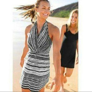ATHLETA blue stripe go anywhere halter dress 12T